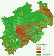 Karte der Erosions- und Verschlämmungsgefährdung in Nordrhein-Westfalen