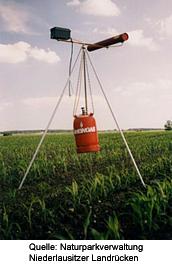 Bild einer Vogelschreckschussanlage; Quelle: Naturparkverwaltung Niederlausitzer Landrücken