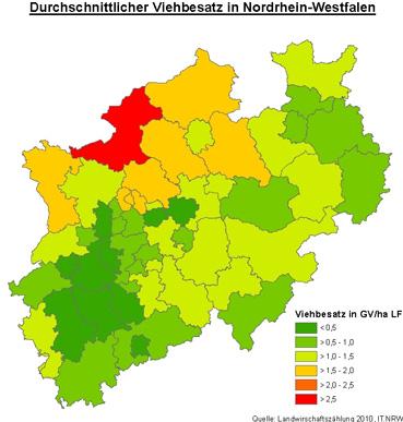Karte der Verteilung der Tierhaltung in NRW