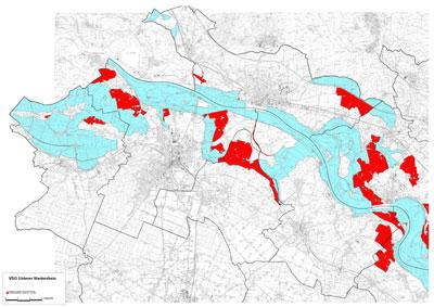 Kartendarstellung der Vogelschutzgebiete Niederrhein