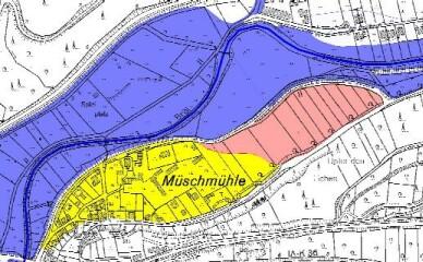 Grafische Darstellung: Überschwemmungsgebiet der Broel